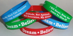 SAMPLE custom wristband for The Miracle League of Manasota ;  We can customize your Dream-Believe-Achieve™ wristbands wth your team, school, business or group name with your colors, logos or slogans.